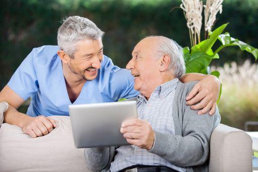 Elderly Man on Tablet